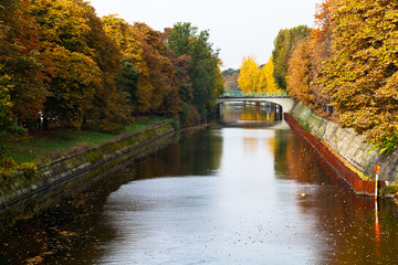 view of bridge and leaves fall on Landwehrkanal