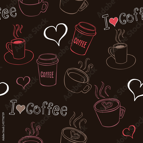 Sticker Coffee Doodles Seamless Pattern