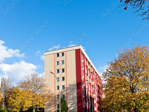 residential apartment building in autumn