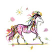 Horse sketch with floral decoration for your design. Symbol of