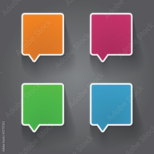 Set of colorful 3d speech bubbles
