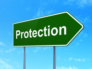 Privacy concept: Protection on road sign background