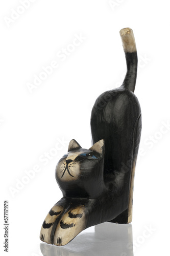 Statuette of kat left frontal side isolated in white