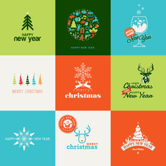Set of elements for Christmas and New Year greeting cards