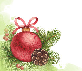 Watercolor Christmas ball and pine with decorations