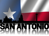 San Antonio skyline text Texan flag illustration
