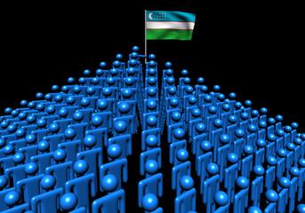 Pyramid of abstract people with Uzbekistan flag illustration