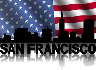 San Francisco skyline text American flag illustration
