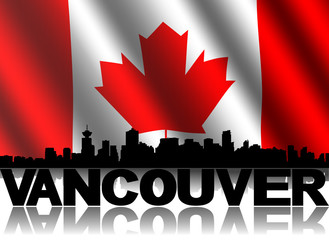 Vancouver skyline text rippled Canadian flag illustration