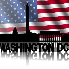 Washington DC skyline text rippled American flag illustration