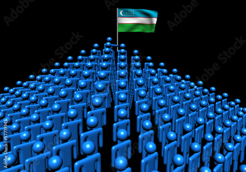 Pyramid of abstract people with Uzbekistan flag illustration