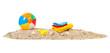 Leinwandbild Motiv Beach ball,towels and toys