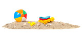 Beach ball,towels and toys