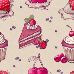 Hand drawn pattern with cake illustrations