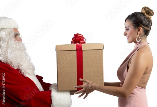 Santa Claus delivers the gift