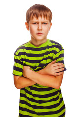 angry restless evil dark blond kid in a striped green shirt, iso