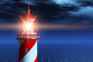 Lighthouse at dark night in ocean