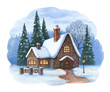 Christmas illustration of winter landscape
