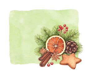 Gingerbread cookies and Christmas spices with decorations
