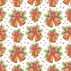 Vintage Christmas pattern. Watercolor bells and pine