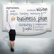 woman thinking about a business plan