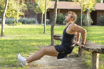 Man doing exercises in the park.