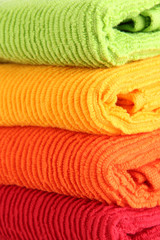 Colorful towels close-up background