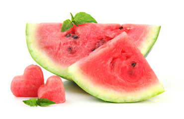 Fresh ripe watermelon isolated on white