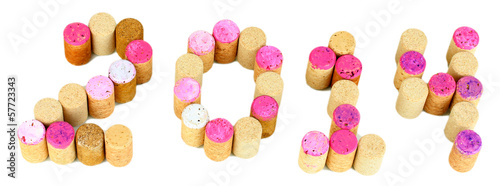 2014 laid out for wine corks isolated on white