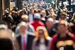 Leinwanddruck Bild - Anonymous crowd walking on a street in New York