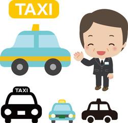 タクシーと乗務員の男性