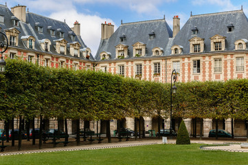 Place des Vosges square in Le Marais, Paris, France