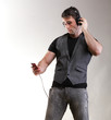 Full length portrait headphone music school boy phone isolated