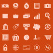 Money color icons on orange background