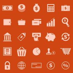 Money color icons on orange background