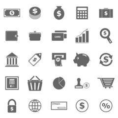 Money icons on white background