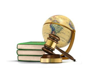 Books of Law with Gavel and Antique Globe
