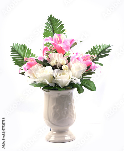 flowers in vase isolated