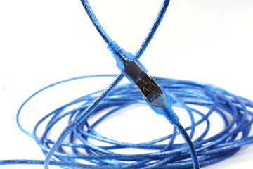 Blue USB cable isolated