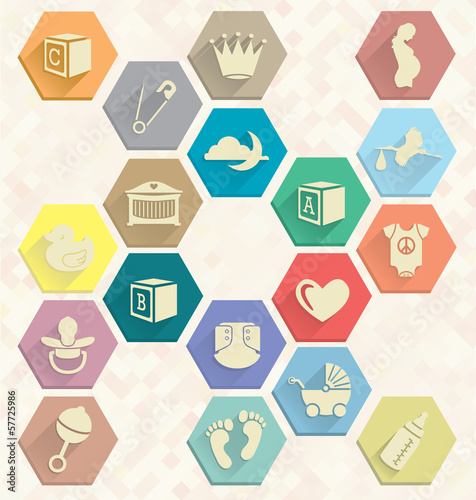 Vector Set: Baby Icons in Hexagons