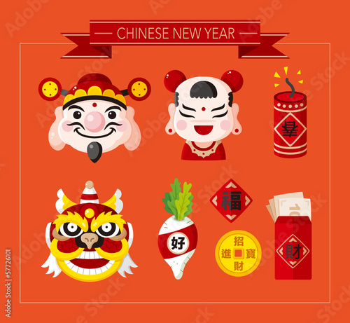 "Chinese New Year icons set,Chinese word ""Happy new year"" ""Congra"