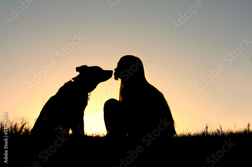 Girl Kissing Dog Silhouette