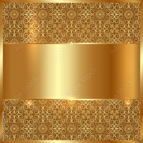Vector gold metal plate with ethnic ornament background