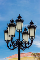 Vintage Outdoor Lamp with blue sky