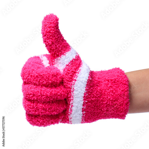 Thumb Up. Hand in Knitted Red Gloves isolated