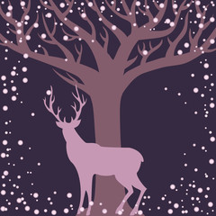 Winter season background with deer and tree silhouettes