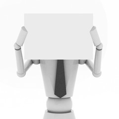 3d Business doll showing a blank paper in front of face