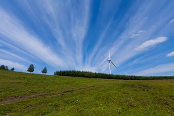 wind power generator on the grassland