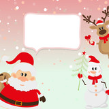 Santa Claus, reindeer, snowman, snow background
