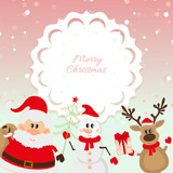 Santa Claus, reindeer, snowman on pink background